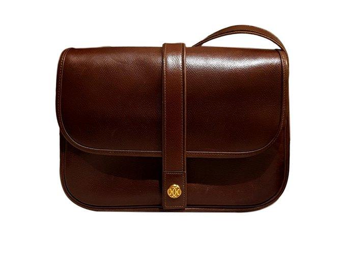 990a91a62da6 Hermès Nouméa leather bag courchevel chocolate Handbags Leather Brown  ref.94659