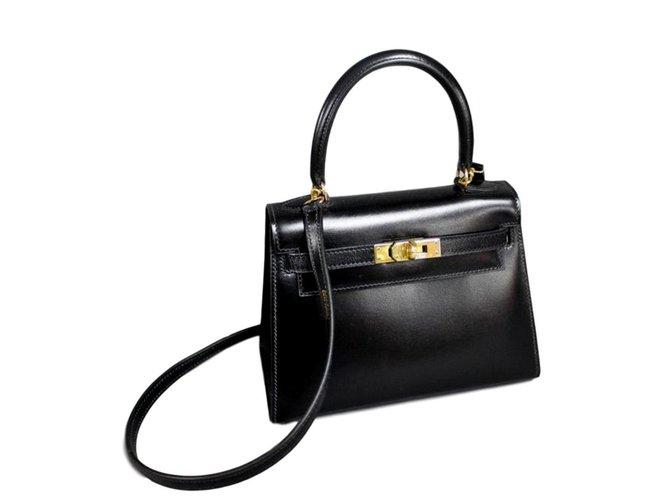 Hermès MINI KELLY SELLIER Handbags Leather Black ref.95072 - Joli Closet c6c8421496504