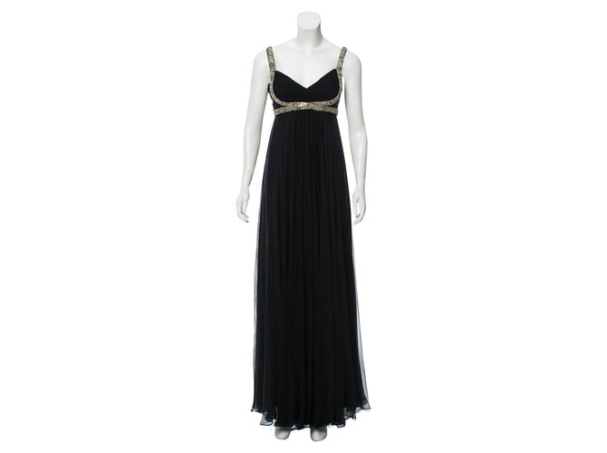 50a09d35ffb7 Marchesa Marchesa Notte Embellished Black Grecian Evening Gown Dresses Silk  Black,Silvery ref.95086