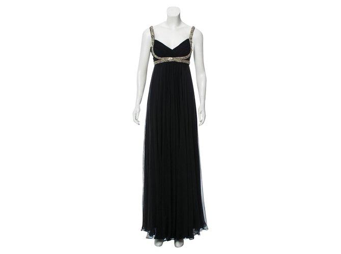 50a09d35ffb7 Marchesa Marchesa Notte Embellished Black Grecian Evening Gown Dresses Silk  Black,Silvery ref.95086