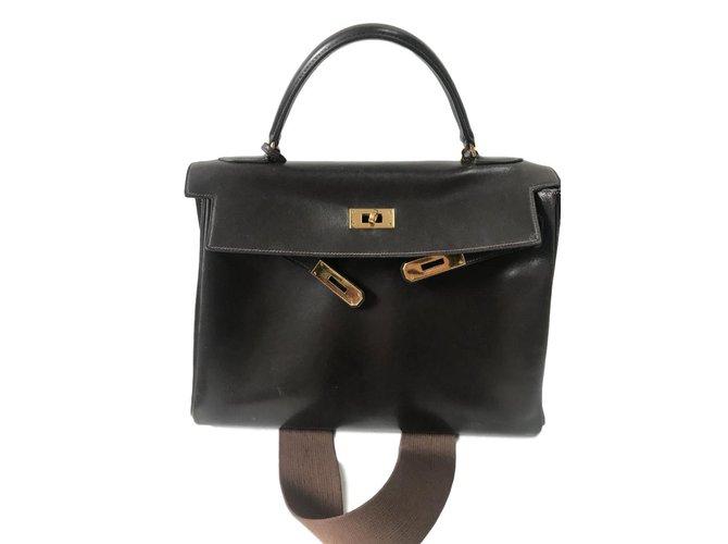 Hermès Handbags Handbags Leather Dark brown ref.98207