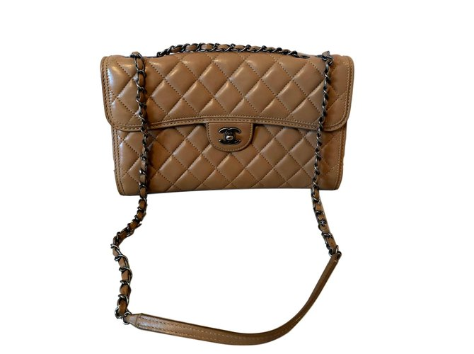Chanel classical Handbags Leather Beige ref.98296