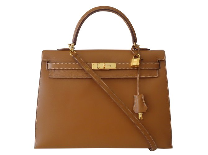 fa2f663eda8 Hermès SAC HERMES KELLY 35 Handbags Leather Golden ref.98509 - Joli ...