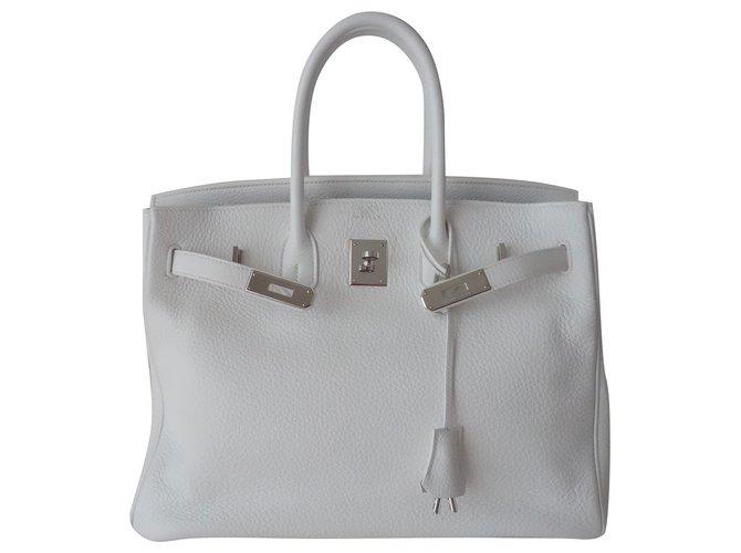 f66729f5136 Hermès HERMES BIRKIN 35 WHITE BAG Handbags Leather White ref.98517 ...