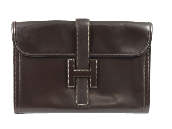 Hermès Jige Handbags Leather Brown ref.98521