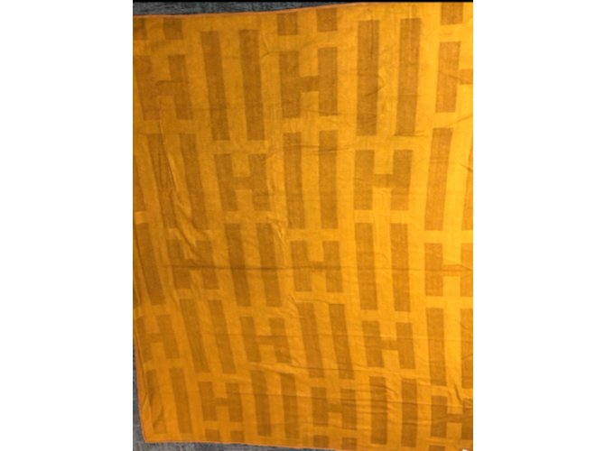 Hermès Hermes Cashmere and Silk blanket Misc Silk,Cashmere Brown ref.98524