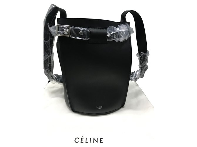 Céline Celine big bag bucket with long strap in smooth calfskin Handbags  Leather Black ref. ac543cc9d790f