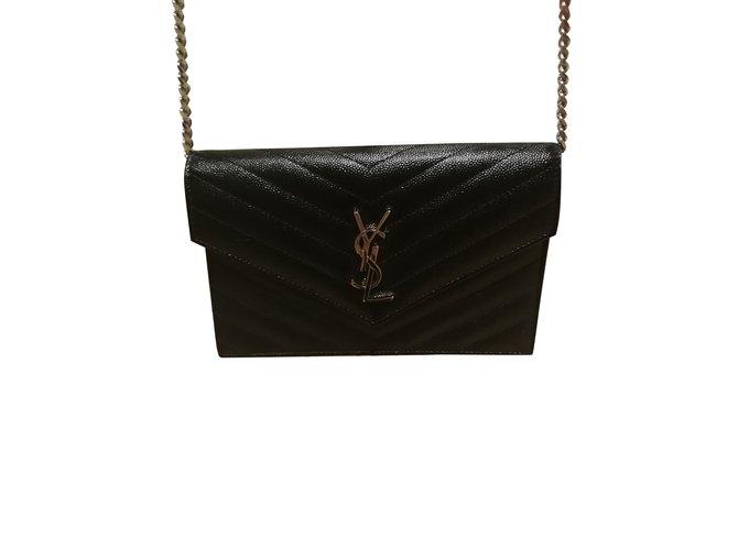 Sacs à main Yves Saint Laurent Sac Portefeuille de chaine saint laurent Cuir Noir ref.98651