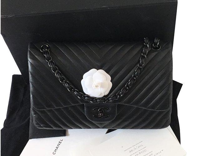 Sacs à main Chanel Timeless soblack Cuir Noir ref.98734