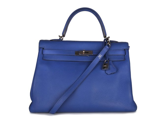 Hermès Hermès Kelly 35 with leather shoulder strap clemency blue paradise in very good condition! Handbags Leather Navy blue ref.98757