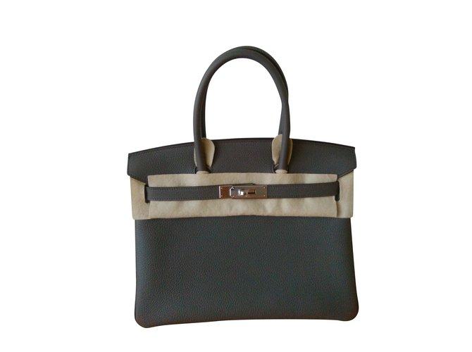 Sacs à main Hermès HERMES BIRKIN 30 Togo Gris Etain Cuir Gris ref.98759