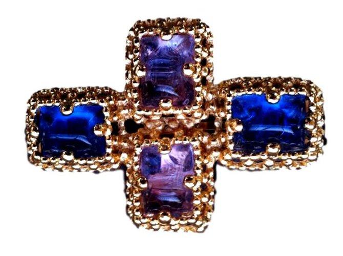 Broches Yves Saint Laurent Broche pendentif ysl vintage cabochon saphir clair Métal Bleu ref.98790