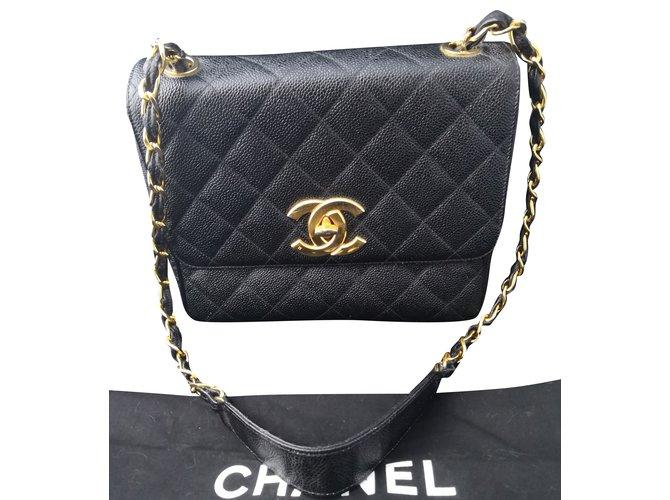76b5f1bb44dd Chanel Vintage Wonderful Chanel Til8 Bag Handbags Leather,Gold-plated Black,Golden  ref