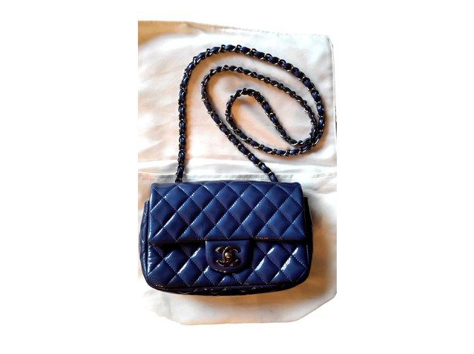 aae6e9cd1eb95c Chanel TIMELESS Handbags Patent leather Dark blue ref.98849 - Joli ...
