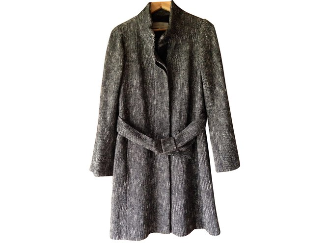 Manteaux Gerard Darel Manteaux, Vêtements d'extérieur Coton,Laine Noir,Blanc ref.98885