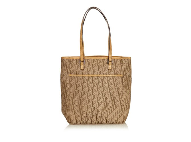 912b7f1d3b4 Dior Oblique Canvas Tote Bag Totes Leather,Other,Cloth,Cloth Brown,Beige