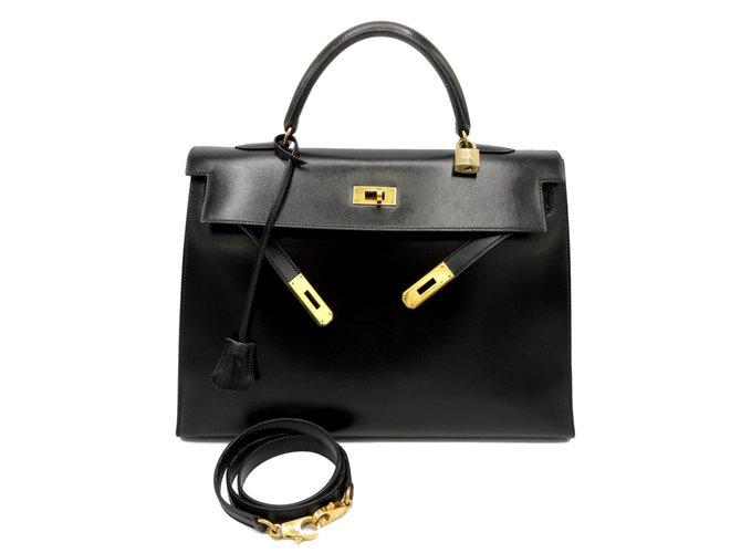 Sacs à main Hermès HERMES SAC KELLY 35 SELLIER Cuir Noir ref.99011
