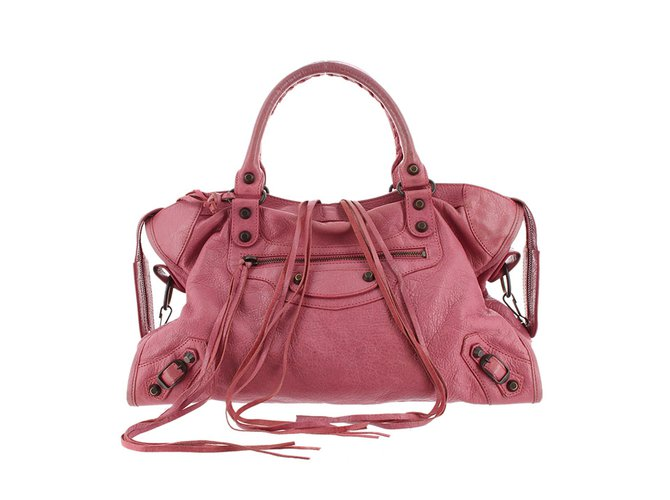 16eb8c077b2 Balenciaga Motocross Classic City Handbags Leather,Other Pink ref.99045