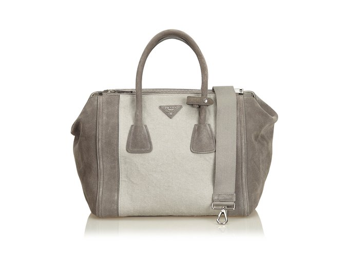 9a12bbbc72f Prada Suede Twin Pocket Bag Totes Suede,Leather Other,Grey ref.99090 ...