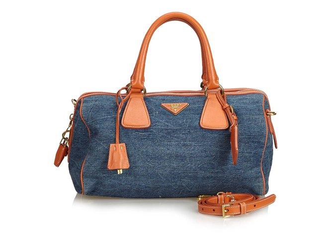 04bc077be6a6 Prada Denim Satchel Handbags Leather,Other,Denim,Cloth Blue,Other,Orange
