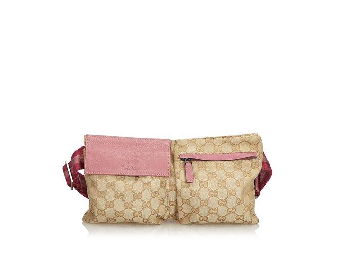 Pochettes Gucci Guccissima Sac Ceinture Jacquard Cuir,Autre,Tissu Marron, Rose,Beige 3179f049910