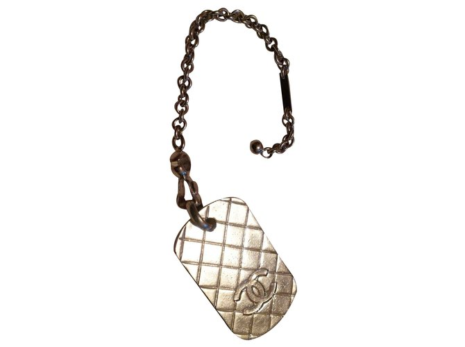 Bijoux de sac Chanel plaque Acier Argenté ref.99259