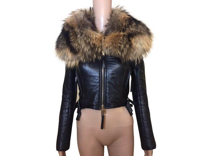 Manteaux Dsquared2 Manteaux, Vêtements d'extérieur Cuir,Fourrure Noir ref.99412