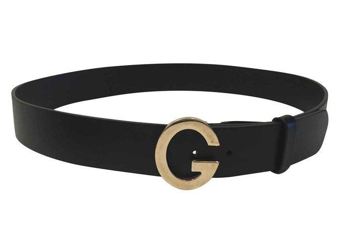 e9a4e92d1bc Gucci Gucci Black Vintage Belt with Gold G Buckle Belts Leather Black
