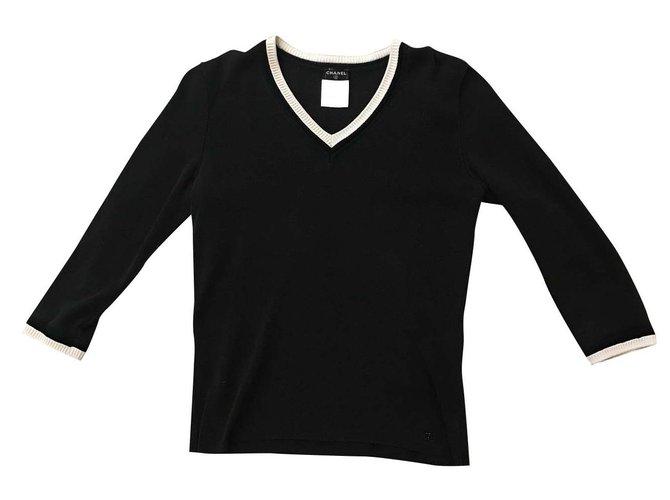Tops Chanel Hauts Coton Noir ref.100058