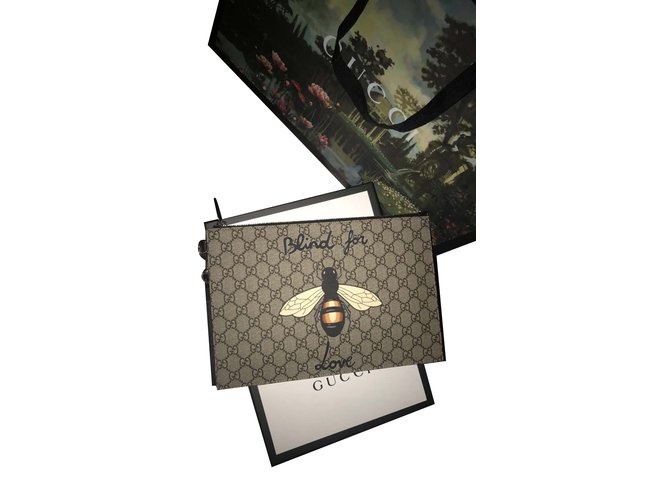 Pochettes Gucci Suprême GG Cuir,Toile Noir,Beige ref.100067