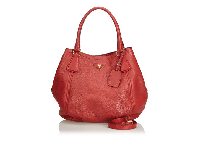 03f85516d0e1 Prada Vitello Daino Leather Hobo Bag Handbags Leather,Other Red ref.100086