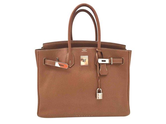 Sacs à main Hermès Birkin 35 Cuir Marron ref.100161