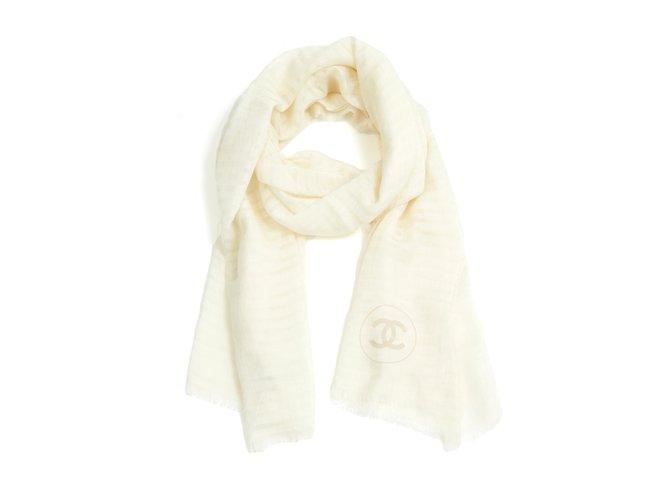 Chanel OFF WHITE CASHMERE STOLE SCARF Scarves Cashmere Cream ref.100165