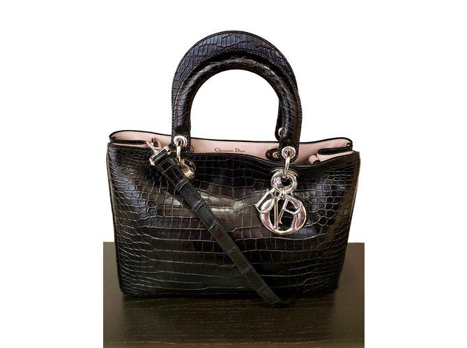 Sacs à main Dior Sac Dior en croco Cuirs exotiques Noir ref.100203