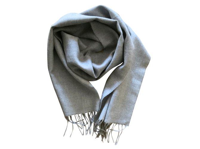 Autre Marque Scarf pure Virgin Wool Light gray mottled Men Scarves Wool Grey ref.100237