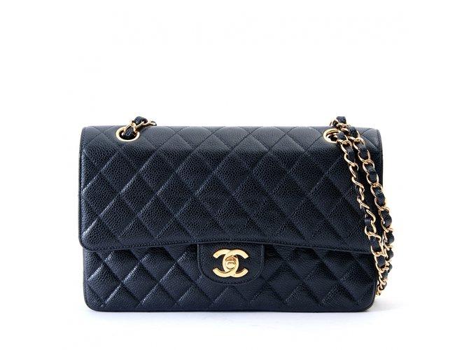 b55290ab77b1 Chanel TIMELESS CLASSIC 25 BLACK CAVIAR Handbags Leather Black ref.100241