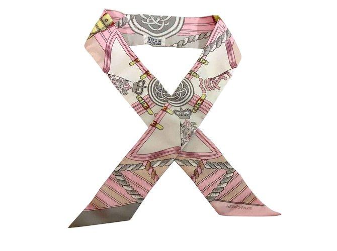 c2cd8b4e91af Foulards Hermès Twilly rose et gris perlé en soie Hermès neuf Soie Rose ,Blanc,