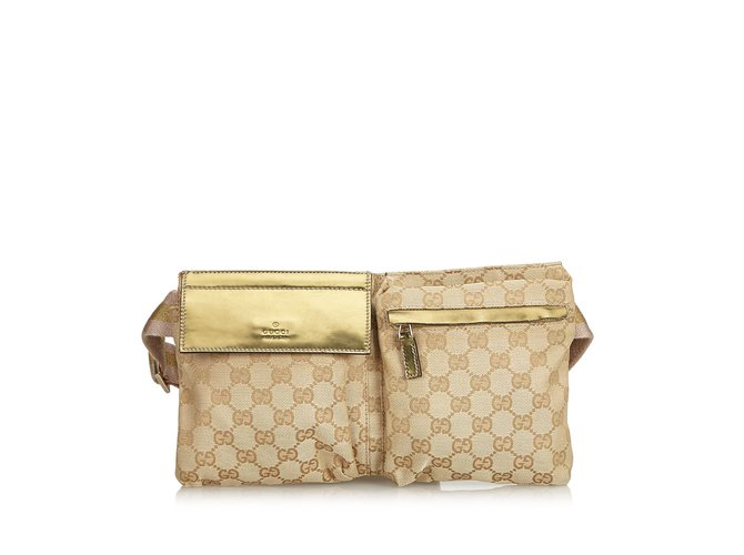8c02ac1a444295 Gucci Guccissima Jacquard Belt Bag Clutch bags Leather,Other,Cloth  Brown,Beige,