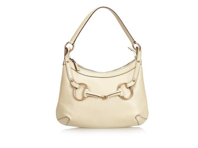 a4e1f42b9 Gucci Guccissima Horsebit Hobo Handbags Leather,Other White ref.100323