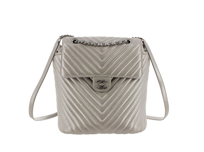 01566aa36000da Chanel Metallic Chevron Calf Leather Drawstring Backpack Backpacks  Leather,Pony-style calfskin Silvery ref