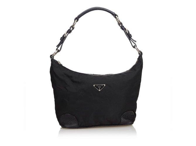 a28fd03c31d8 Prada Nylon Shoulder Bag Handbags Leather,Other,Nylon,Cloth Black ref.100340
