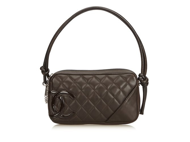 72187723f9e6 Chanel Cambon Ligne Pochette Handbags Leather Black ref.100352 ...