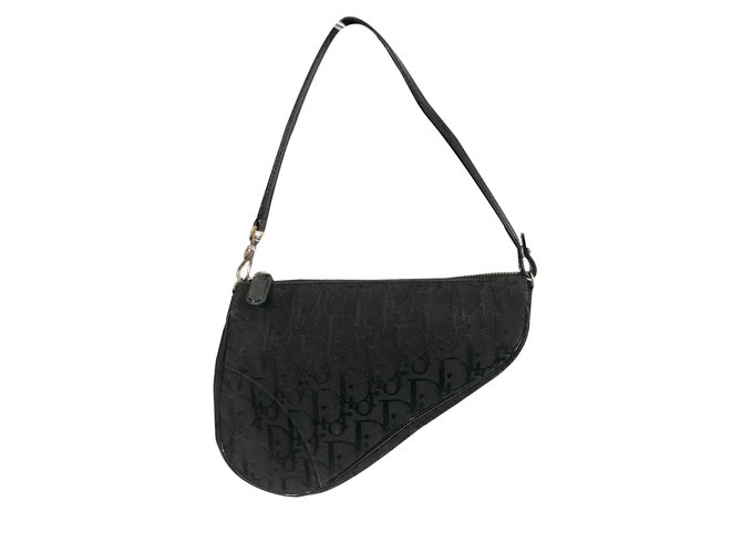 02c38ed37c Sacs à main Dior Petit Sac Saddle Bag noir Dior Toile Noir ref.100410