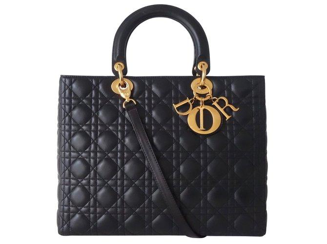 Sacs à main Dior SAC LADY DIOR GM NOIR Cuir Noir ref.100453 - Joli ... 4db88a0c0a6