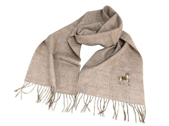 Autre Marque AC Canova Écharpe 100% Wool maroon beige embroidered horse Men Scarves Wool Beige,Grey ref.100454