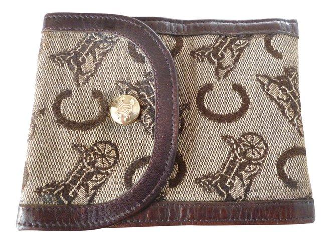 Céline vintage Purses, wallets, cases Leather,Cloth Brown ref.100467