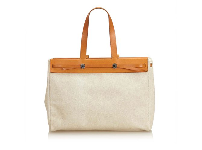 51fdbf53f Hermès Herbag Cabas MM Totes Leather,Cloth,Pony-style calfskin,Cloth Brown
