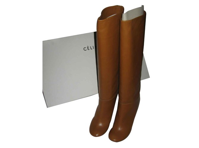 Céline Céline high boots, Never been worn Boots Leather Caramel ref.100524