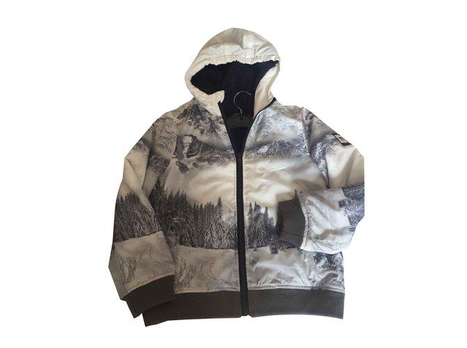 Blousons, manteaux garçon Ikks Doudoune Coton,Polyester,Polyamide Blanc ref.100528