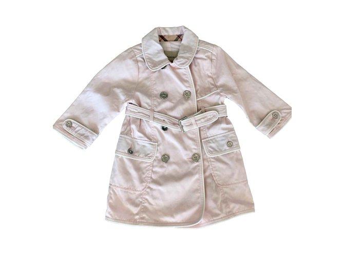 Blousons, manteaux filles Burberry Manteaux fille Coton Rose ref.100537